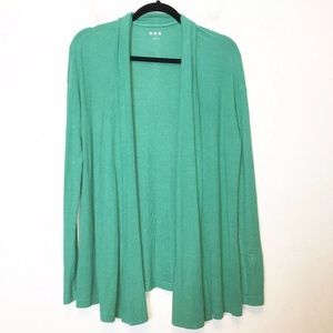 Three Dots Green Dierdre Ribbed Open Cardigan